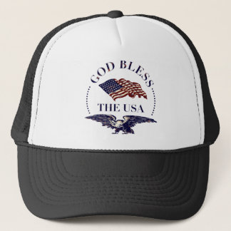 God Bless the USA - Vintage Eagle and Flag Trucker Hat