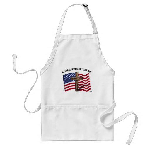 GOD BLESS THIS MILITARY KID rugged cross & US flag Aprons