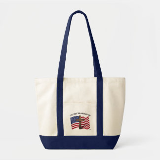 GOD BLESS THIS MILITARY KID rugged cross & US flag Canvas Bag