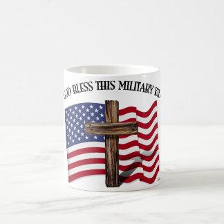 GOD BLESS THIS MILITARY KID rugged cross & US flag Basic White Mug