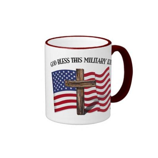 GOD BLESS THIS MILITARY KID rugged cross & US flag Mug