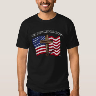 GOD BLESS THIS MILITARY KID rugged cross & US flag T Shirt