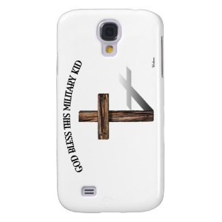 GOD BLESS THIS MILITARY KID with rugged cross Galaxy S4 Case