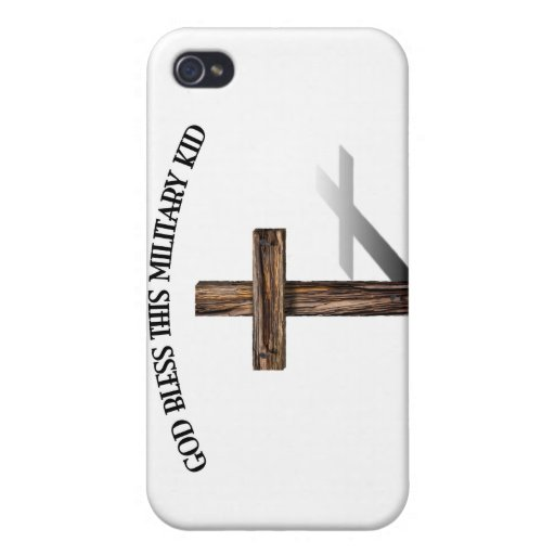 GOD BLESS THIS MILITARY KID with rugged cross iPhone 4 Cover