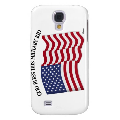 GOD BLESS THIS MILITARY KID with US flag Samsung Galaxy S4 Case