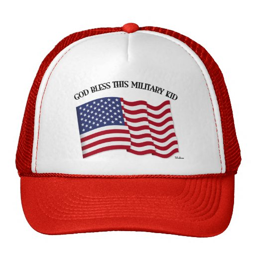 GOD BLESS THIS MILITARY KID with US flag Hats