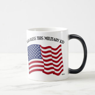 GOD BLESS THIS MILITARY KID with US flag Mugs