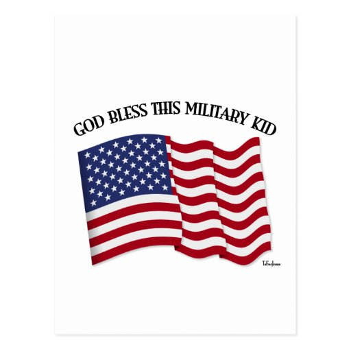 GOD BLESS THIS MILITARY KID with US flag Post Cards