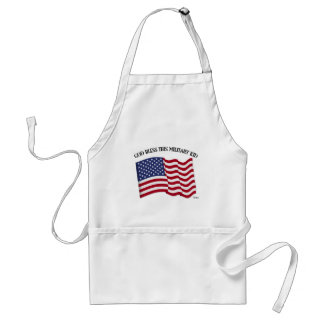GOD BLESS THIS MILITARY KID with US flag Standard Apron
