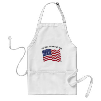GOD BLESS THIS MILITARY MOM with US flag Standard Apron