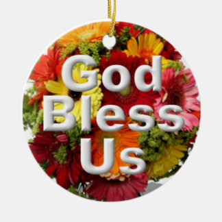 God bless us round ceramic decoration
