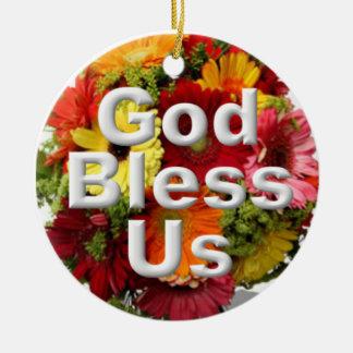 God bless us round ceramic decoration