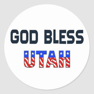 God Bless Utah Round Sticker