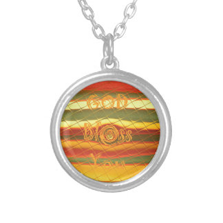 God Bless You Colors Design Silver Plated Necklace