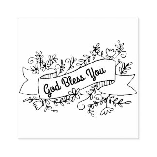 God Bless You Floral Banner Customisable Rubber Stamp