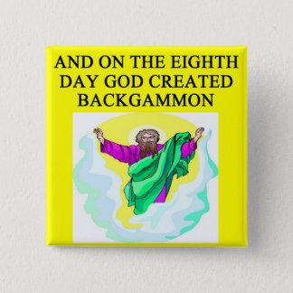 god created backgammon 15 cm square badge
