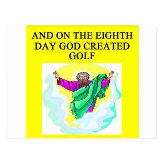 god created golf postcard