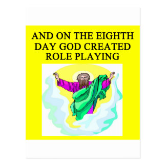 god created role playing postcard