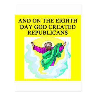god creeated republicans postcard