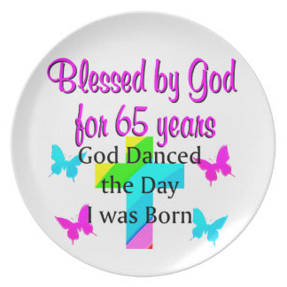 GOD DANCED THE DAY THIS 65TH BIRTHDAY DESIGN PLATE