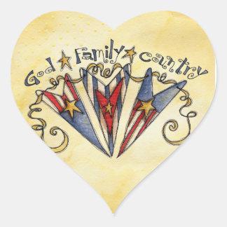 God Family Country America Heart Sticker
