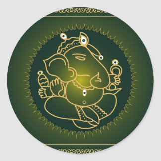 God Ganesha on green - Sticker