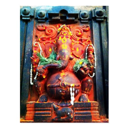 God Ganesha statue Post Card