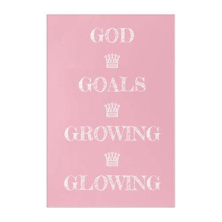 God Goals Glowing Growing Acrylic Wall Art