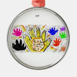 god hand are bigger Silver-Colored round decoration
