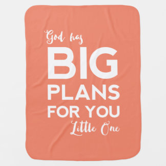 God Has Big Plans | Christian Baby Blanket - Coral