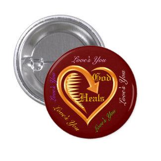 God Heals Hearts Christian Design 6 Pinback Buttons