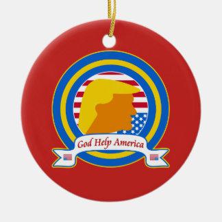 God Help America Resist Anti Trump Funny Ceramic Ornament