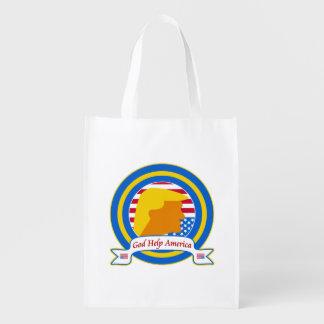 God Help America Resist Anti Trump Funny Reusable Grocery Bag