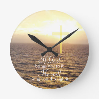 God & Holy Cross Round Clock