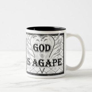"""""""God Is Agape"""" By Glenn McCarthy Two-Tone Mug"""