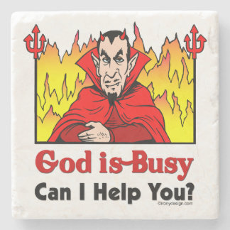 God Is Busy, Can I Help You? Stone Coaster