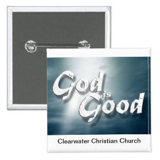 God Is Good 15 Cm Square Badge