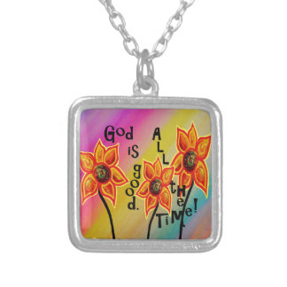 God is Good All the Time Silver Plated Necklace