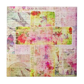 GOD IS LOVE contemporary Christian art Ceramic Tile