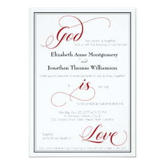 God is Love Graceful Red Script Wedding Invitation