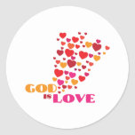 GOD is Love Round Stickers