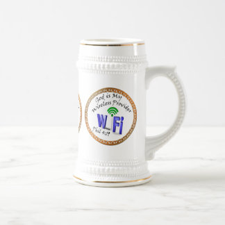 God is My Wireless Provider Phil 4:19 Beer Stein