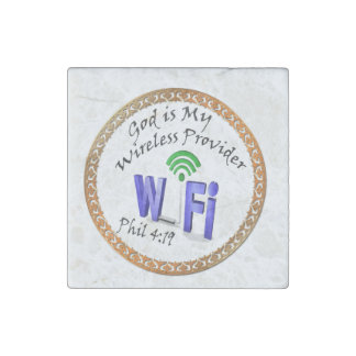 God is My Wireless Provider Phil 4:19 Stone Magnet