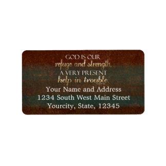 God is our Refuge Christian Bible Verse Brown/Gold Address Label