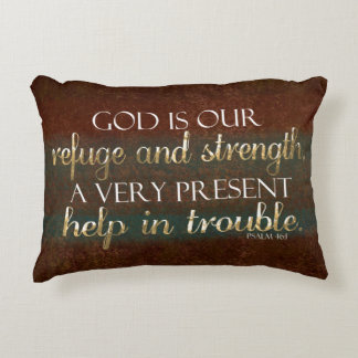 God is our Refuge Christian Bible Verse Brown/Gold Decorative Cushion