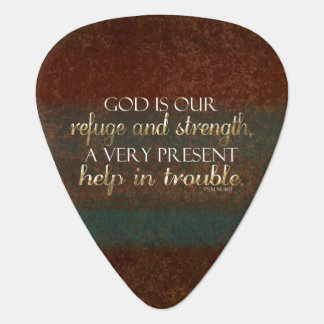 God is our Refuge Christian Bible Verse Brown/Gold Guitar Pick