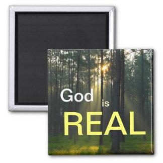 God is REAL - spiritual religious refrigerator mag Square Magnet