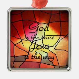 God Is The Trust Silver-Colored Square Decoration