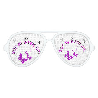 God Is With Us Surrounded By Birds And Butterflies Aviator Sunglasses