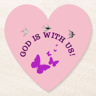 God Is With Us Surrounded By Birds And Butterflies Paper Coaster